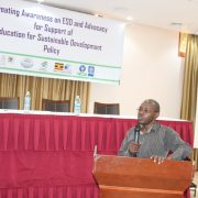 Dr. Muganga taking participants through the Mid-term review report of the NAP on ESD